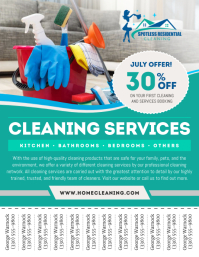 Teal Cleaning Services Tear Off Flyer