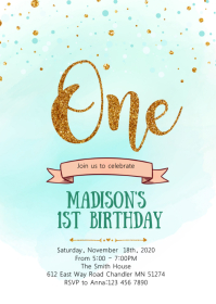 Teal Confetti first birthday invitation A6 template
