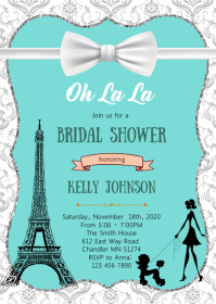 Teal Paris shower party invitation