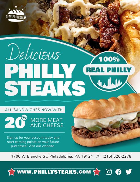 Teal Philly Steak Restaurant Flyer template