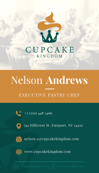 Teal Portrait Pastry Chef Business Card Besigheidskaart template