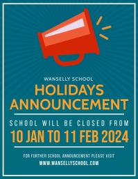 Teal school holiday notice flyer template