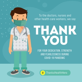 Teal Thank You Doctors Instagram Image template