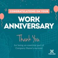 Teal Work Anniversary Wish Instagram Image