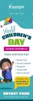 Teal World Children's Day Banner Cartel de 2 × 6 pulg. template