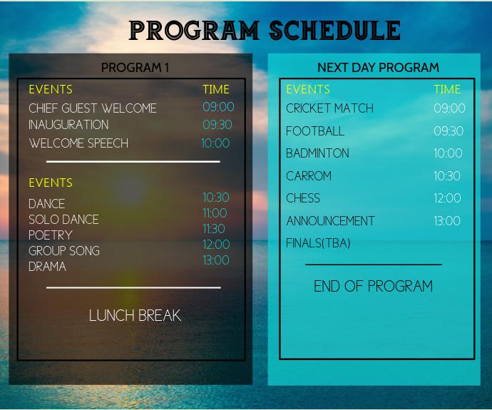 Team Schedule Rectangle moyen template