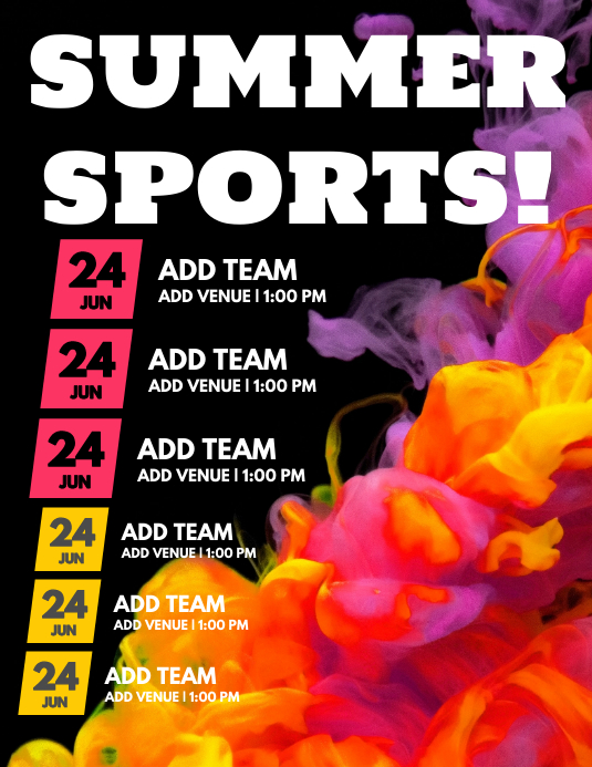 team sport simple schedule flyer template postermywall