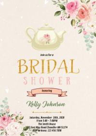 Teapot flower shower invitation A6 template