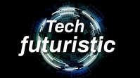 tech circle technology abstract science space Pantalla Digital (16:9) template