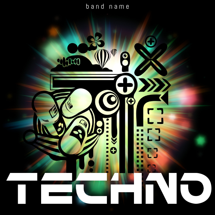 Techno Club Music Album Cover Template