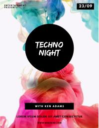 Techno Color Smoke Holi Festival Flyer Design