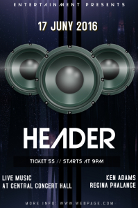 techno concert night club party speaker flyer template