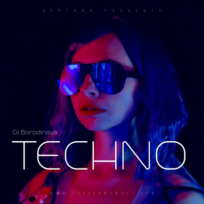 DJ Techno Futuristic 80's CD Cover Music template