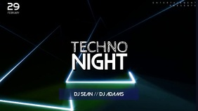 Techno Music Party Facebook Cover Template