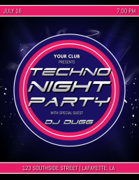 TECHNO NIGHT PARTY FLYER TEMPLATE