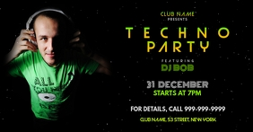 Techno party Facebook Event Cover template