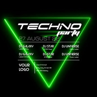 Techno Party Electro Electronic Music Club Green Abstract