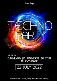 Techno Party Electronic Deep House Music Event Party Ad A4 template