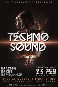 Techno Party Music Flyer Template