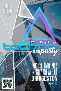 Techno Urba Night Dj Disco Party Flyer Poster