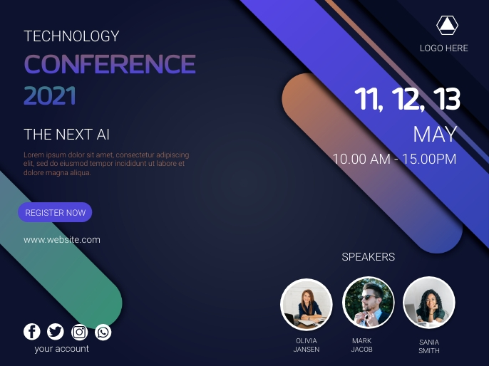 Technology conference poster template Презентация