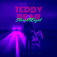 Teddy Bear Retro 80's CD Cover Art Template
