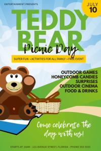teddy bear picnic day Flyer Template Cartaz