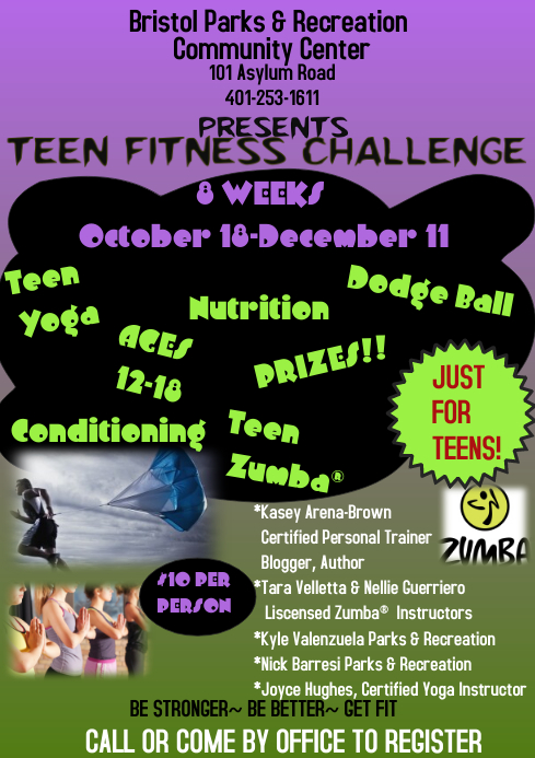 Teen Fitness Challenge A4 template