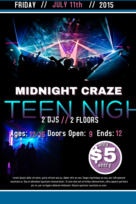 Teen Night Template  Postermywall-7802