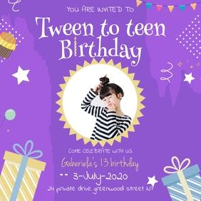 Teen to Tween Purple Birthday Invite