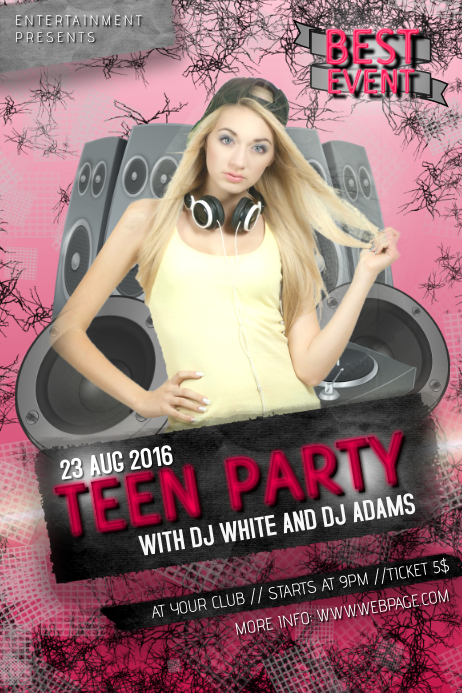 teenage teen young pink girl disco dj party night