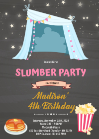 Teepee sleepover invitation A6 template