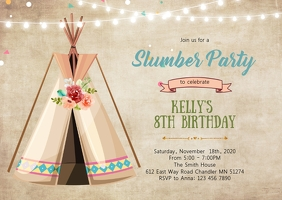 Teepee slumber birthday party invitation