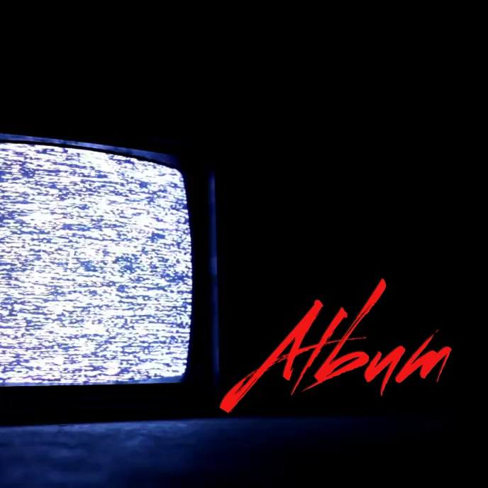 Television static scary album cover video template