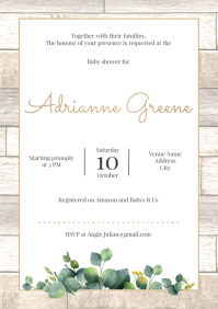 Template baby shower leaves