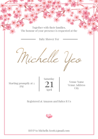 Template baby shower sakura A4