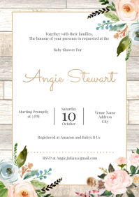 Template baby shower spring rustic A4