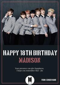 Template BTS birthday card A4