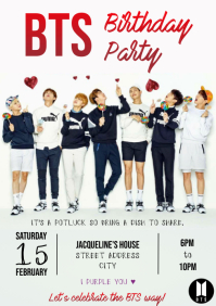 Template BTS birthday party A4