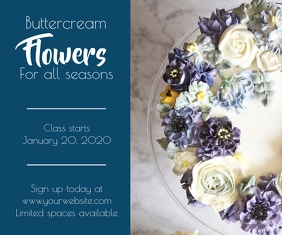 Template buttercream flowers class baking cak