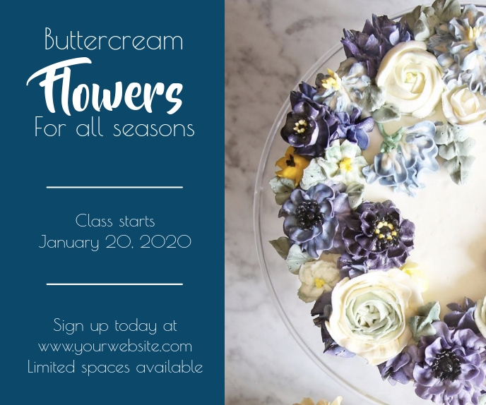 Template buttercream flowers class baking cak Stort rektangel