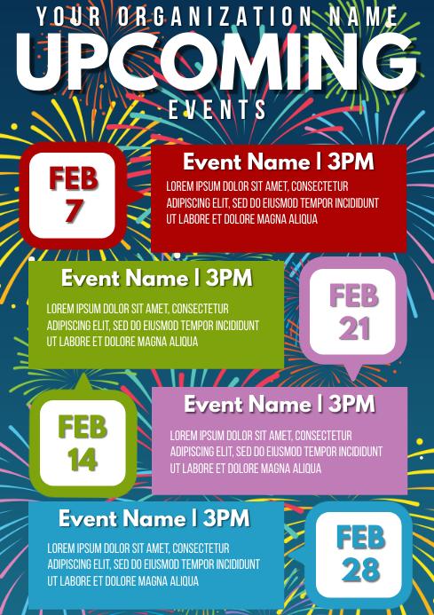 Template event calendar