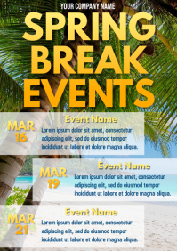 Template event calendar spring break