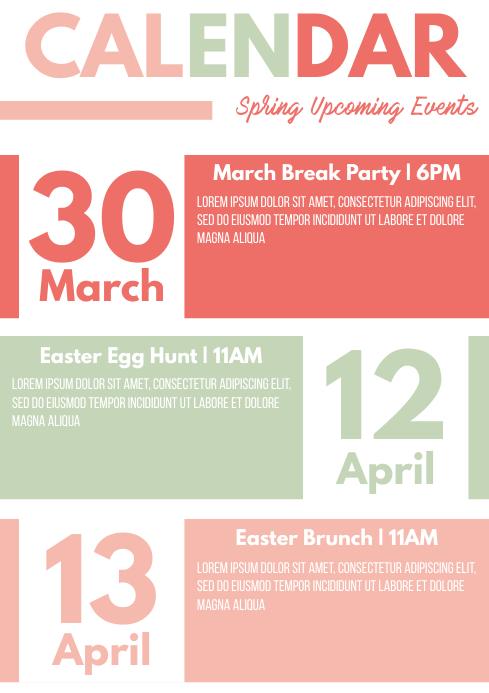 Template event calendar spring