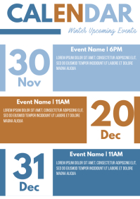 Template event calendar winter