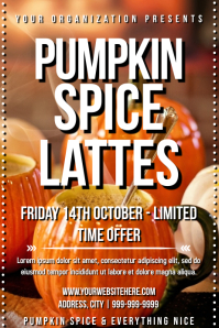 Template fall pumpkin spice latte Poster