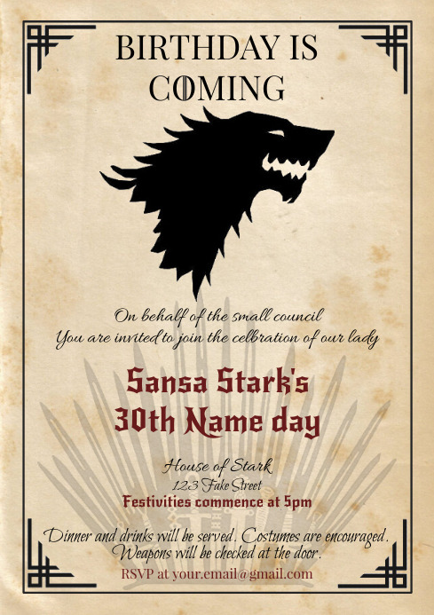 Template Game of Thrones Birthday