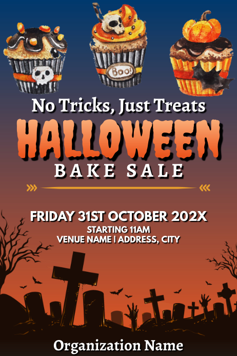 Template halloween bake sale Poster