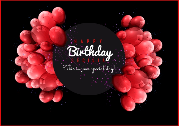 template happy birthday poster A4