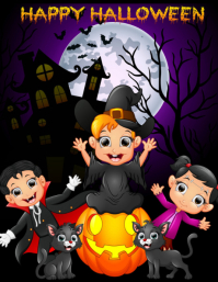 template happy halloween party design Volantino (US Letter)